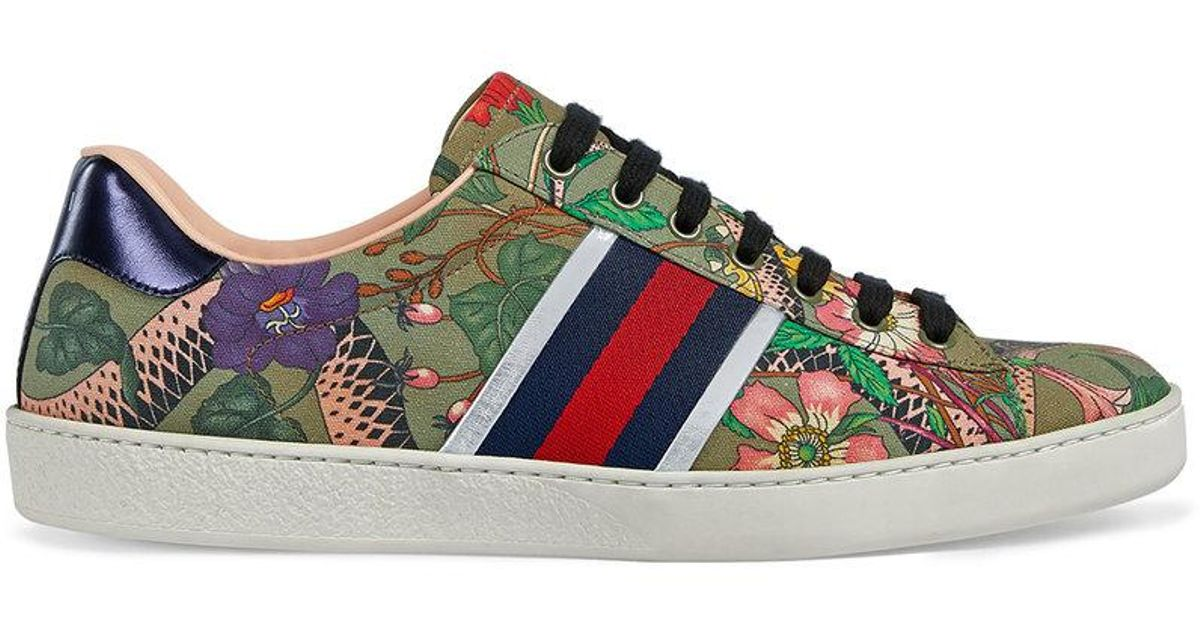 6bf6995c7c97c Lyst - Gucci Flora Snake Sneaker in Green for Men