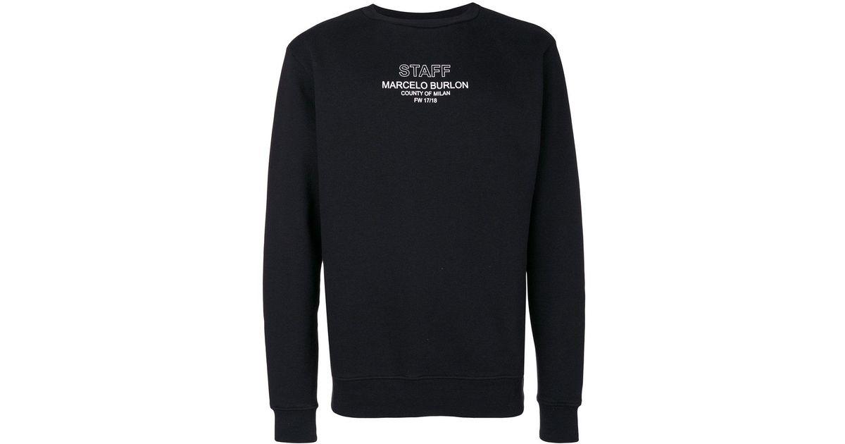 Burlon Sweatshirt Men Black Staff Lyst Marcelo Crewneck In For xwvWSU