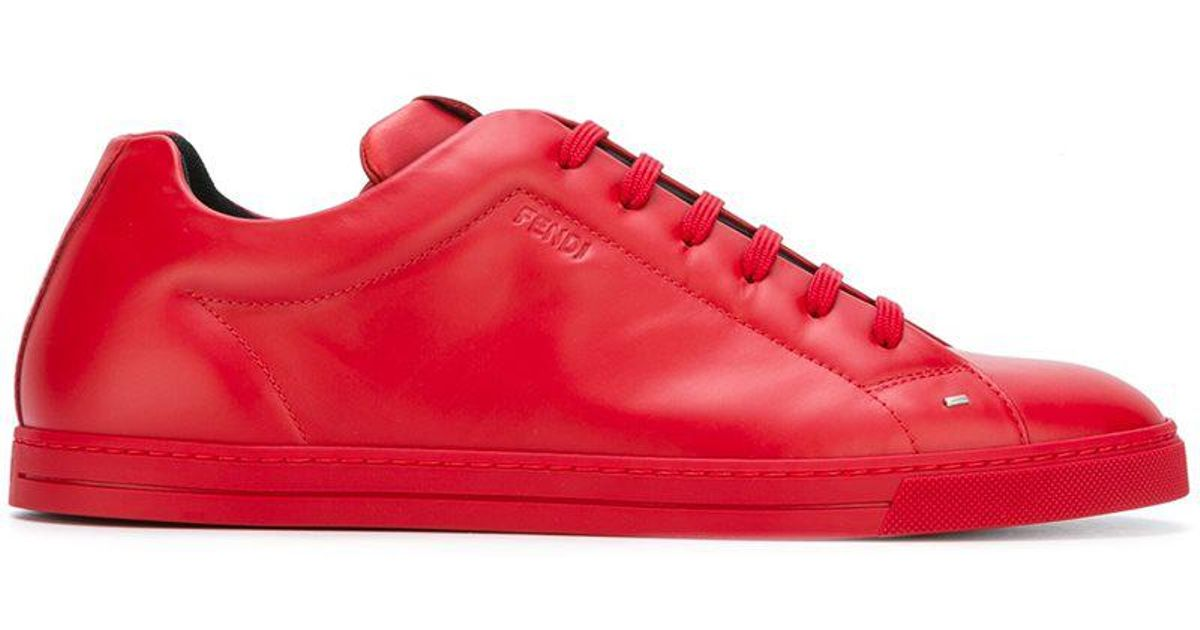 classic lace-up sneakers - Red Fendi
