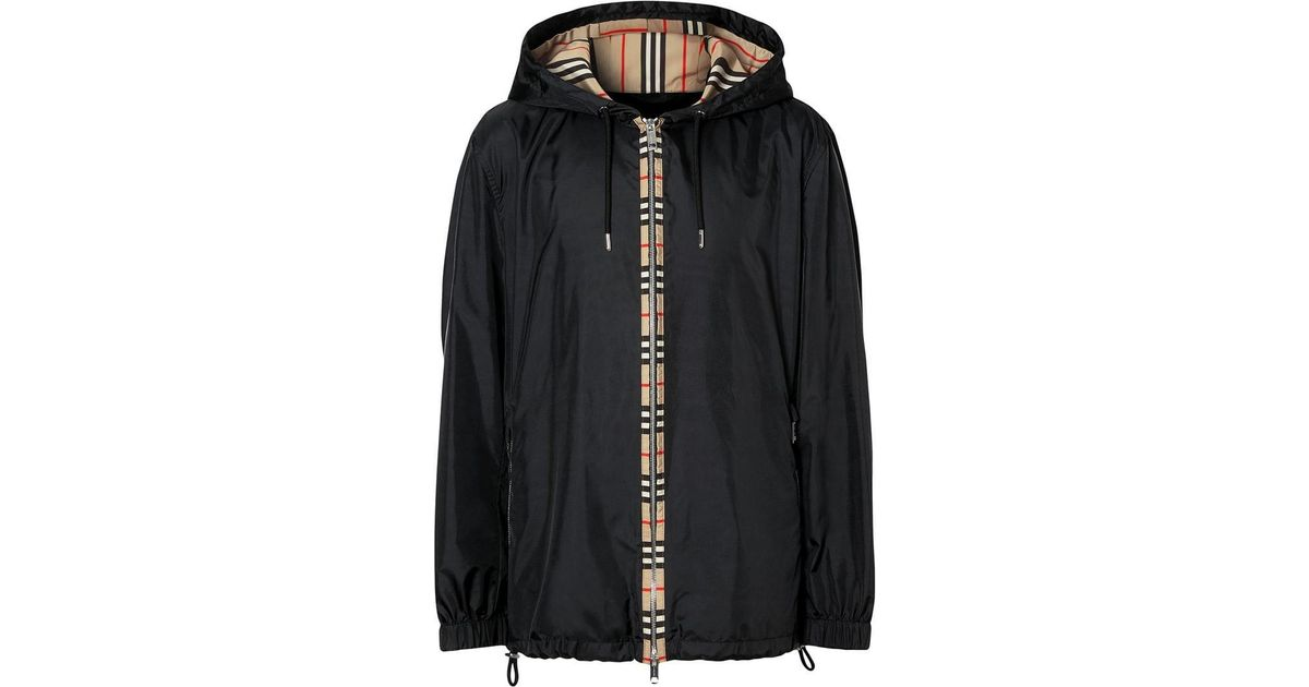 b260f9c13 Lyst - Burberry Icon Stripe Detail Nylon Canvas Hooded Jacket in Black for  Men