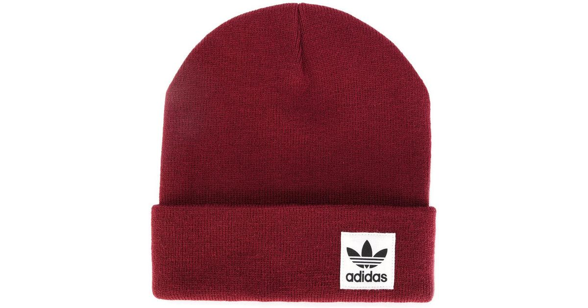42508e245d5 Adidas Logo Patch Beanie Hat in Red for Men - Lyst