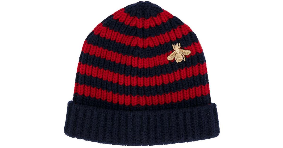 Gucci Bee Striped Beanie Hat in Blue for Men - Lyst e935c8bf07a