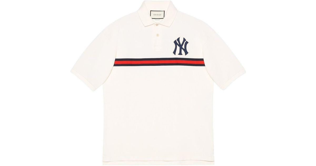 b56790e837b Gucci Men s Polo With Ny Yankeestm Patch in White for Men - Lyst