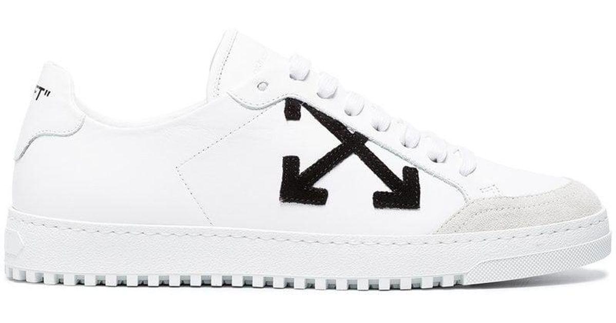 16c7e8c07882 Lyst - Off-White c o Virgil Abloh White Logo Leather Sneakers in White