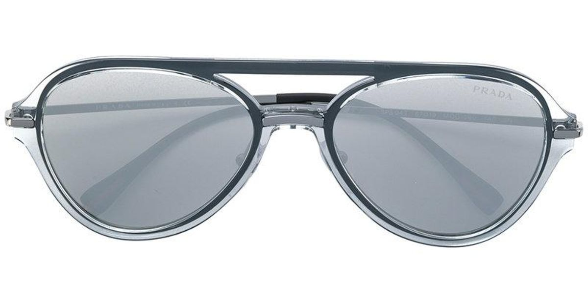 235001471fbc Prada Aviator Sunglasses in Gray for Men - Lyst
