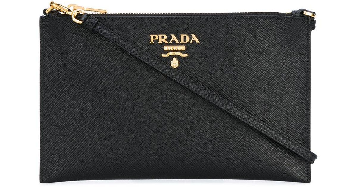 c8f1ba28c3fb Prada - Logo Plaque Clutch Bag - Women - Leather - One Size in Black - Lyst
