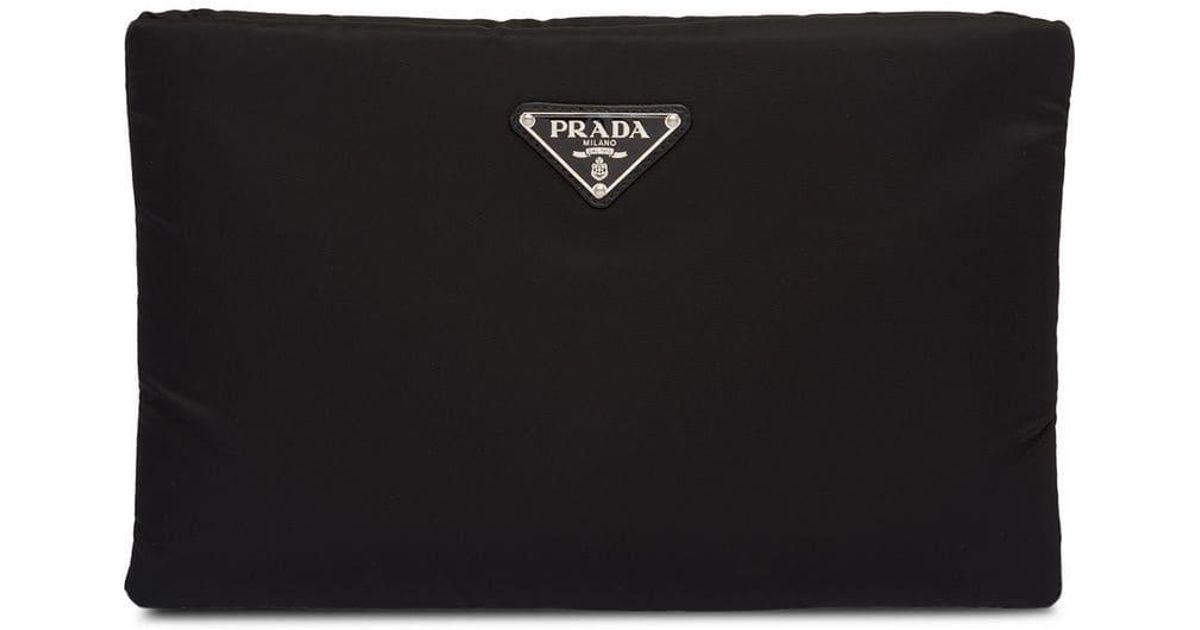 6a33f167e9d0 Lyst - Prada Medium Padded Nylon Clutch in Black