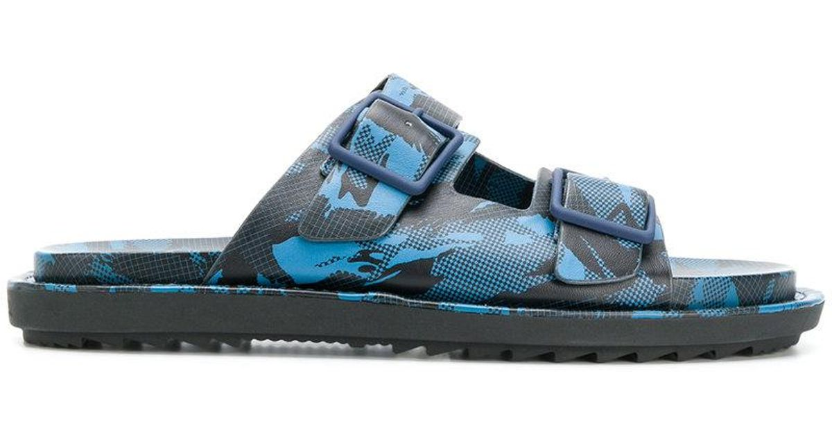 camouflage print slide sandals - Blue Diesel 8Di32
