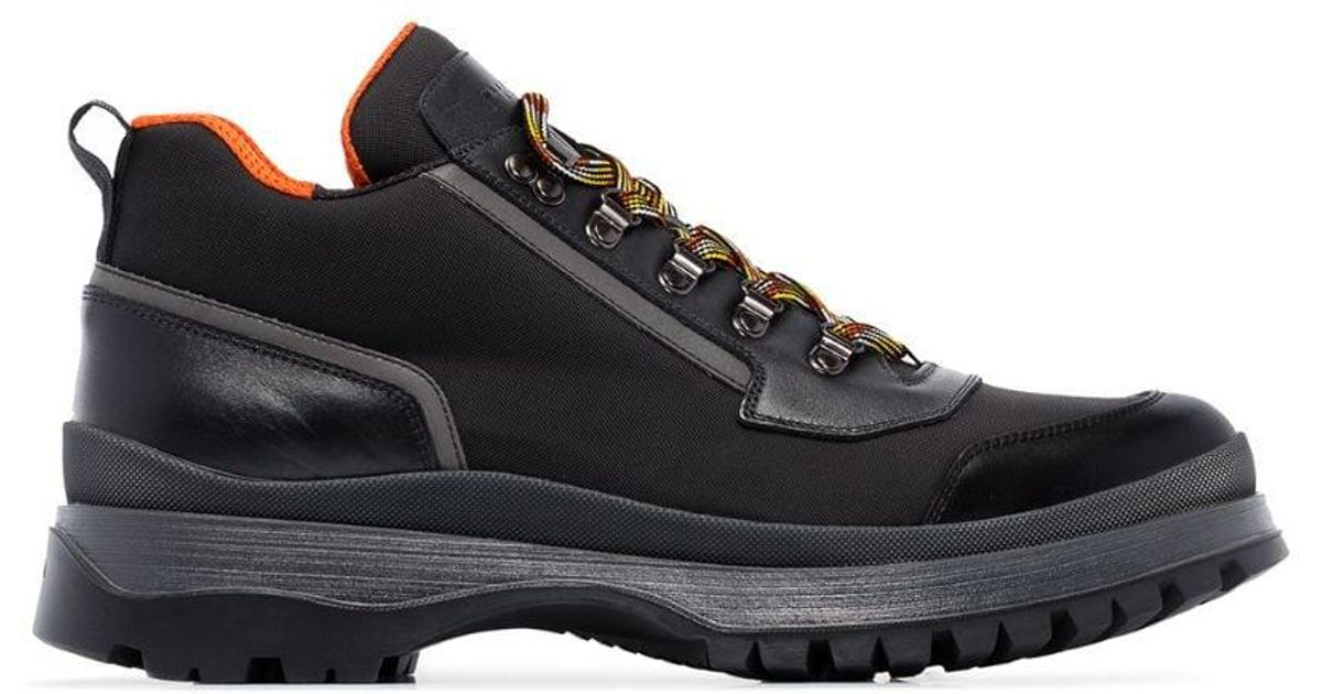 99b823b1efd Prada - Black Brixen Mid-height Hiking Boots for Men - Lyst