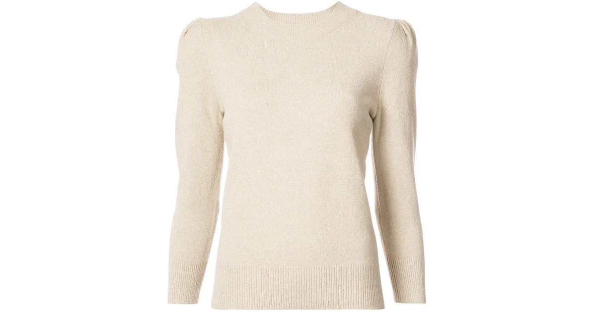 2f14dbe88d92 Lyst - Co. Puff Sleeve Sweater in Metallic
