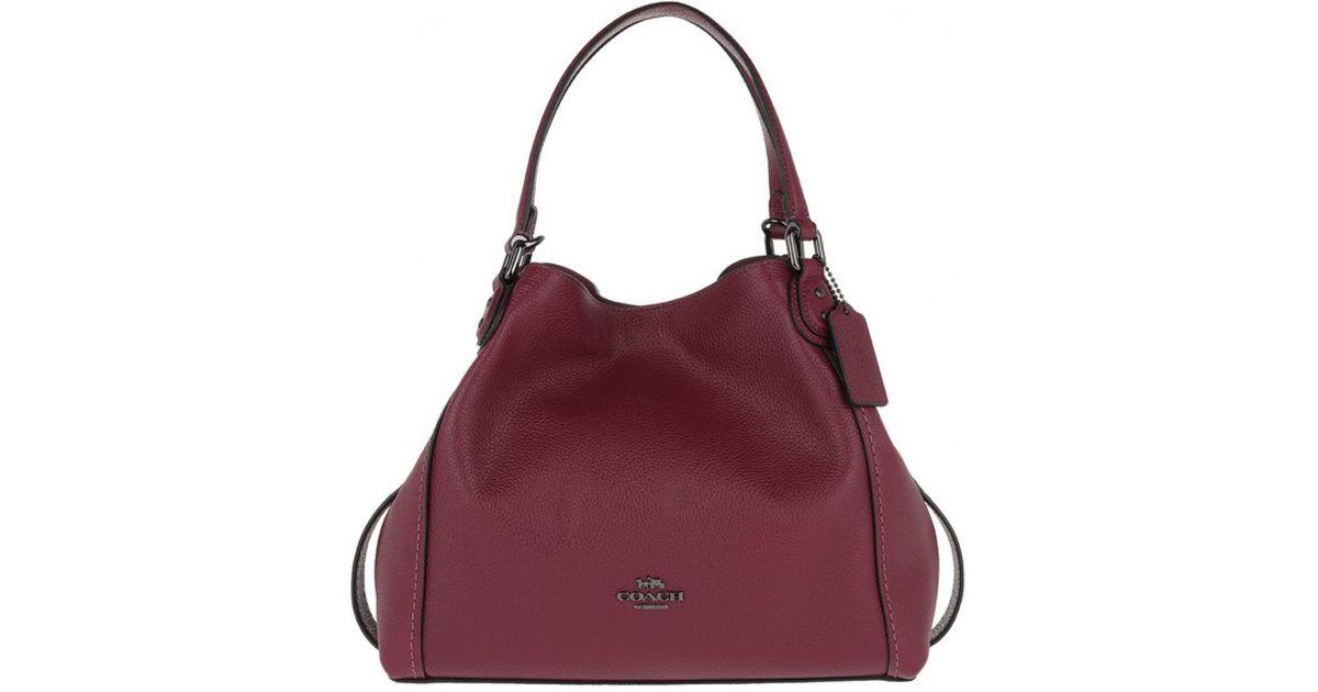 COACH Polished Leather Edie 28 Shoulder Bag Dark Berry in Purple - Lyst dfe556f9c0ad8