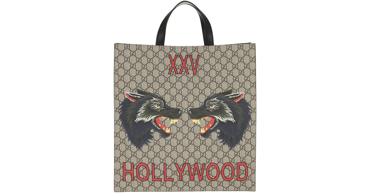 662818f3df0 Gucci GG Supreme Tote Bag Wolves Beige ebony in Natural - Lyst