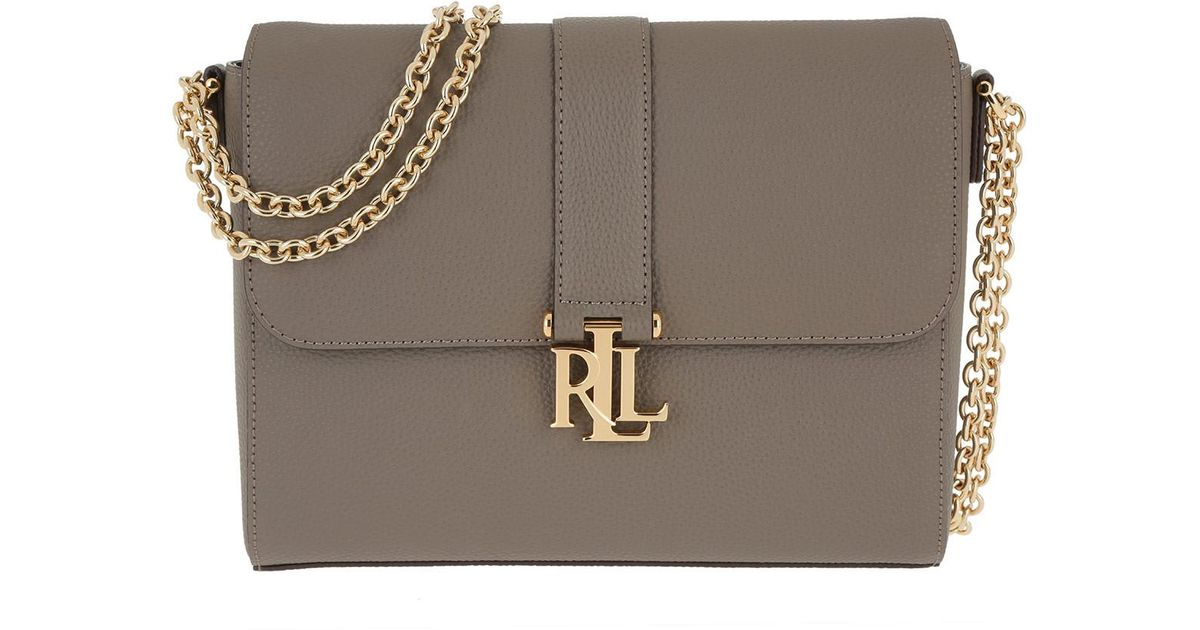 137f3d7bd381d Lauren By Ralph Lauren Two Tone Pebbled Leather Gabbi Shoulder Medium  Falcon - Lyst