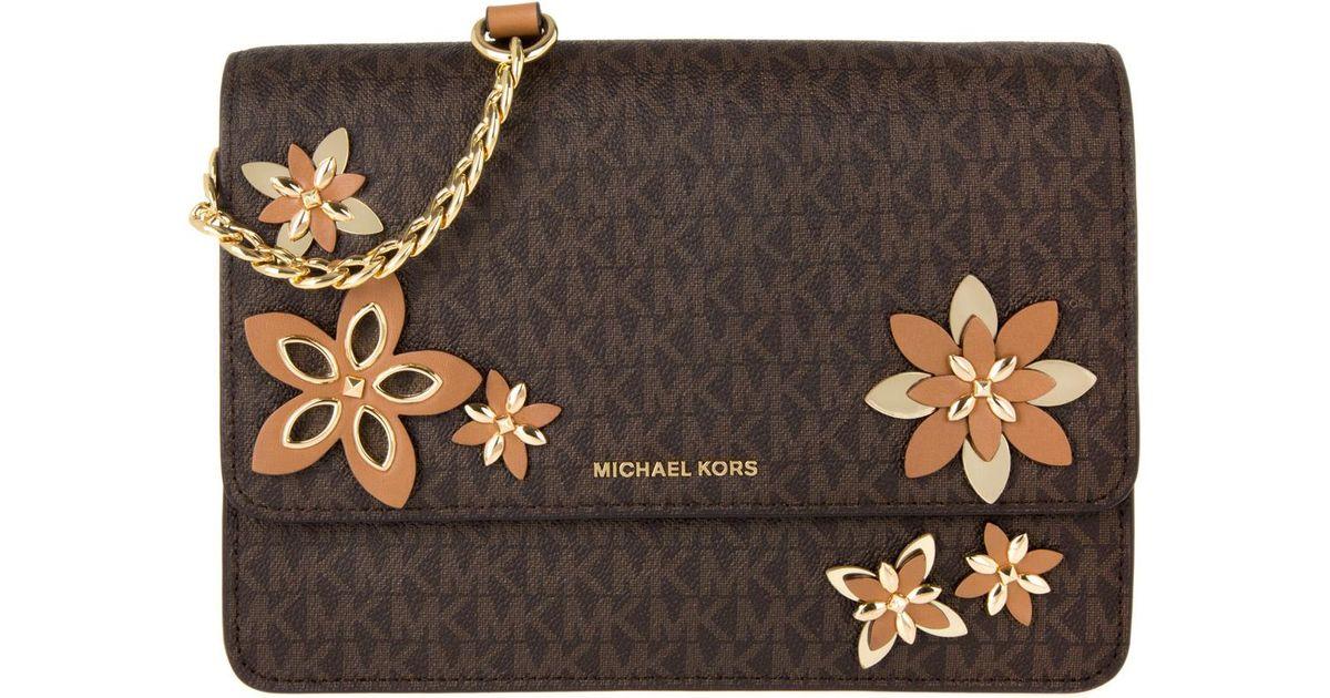eb64058a5e78 Michael Kors Flowers Daniela Lg Crossbody Bag Brown in Brown - Lyst