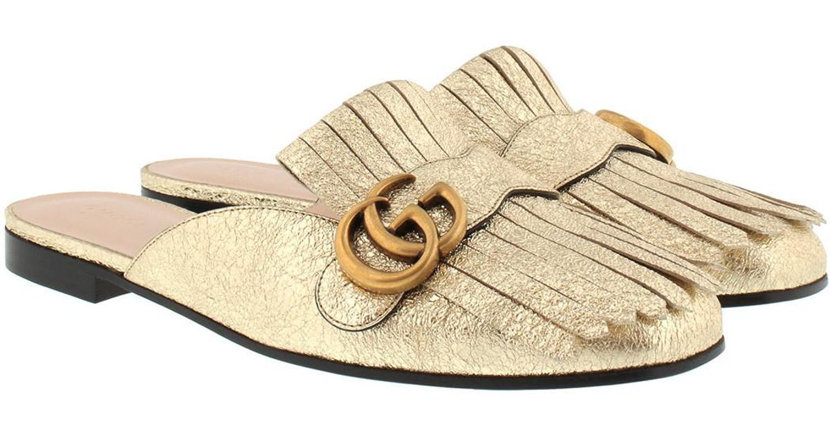 dde8c826d Gucci Marmont Metallic Laminate Leather Slipper Gold in Metallic - Save 13%  - Lyst