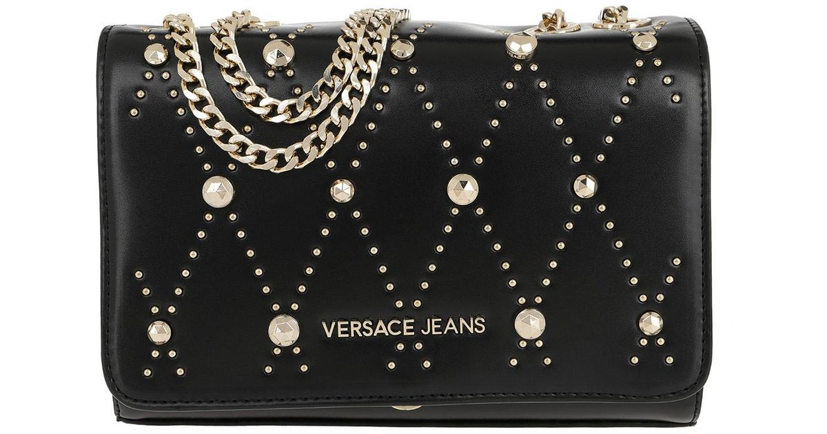 40a55bd17e Versace Jeans Studded Chain Crossbody Bag Black in Black - Save 13% - Lyst