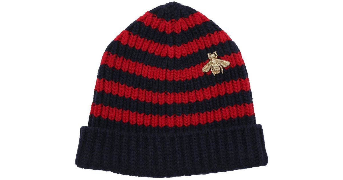 67eb56e56fbc0b Gucci Striped Wool Hat Blue red in Blue - Lyst