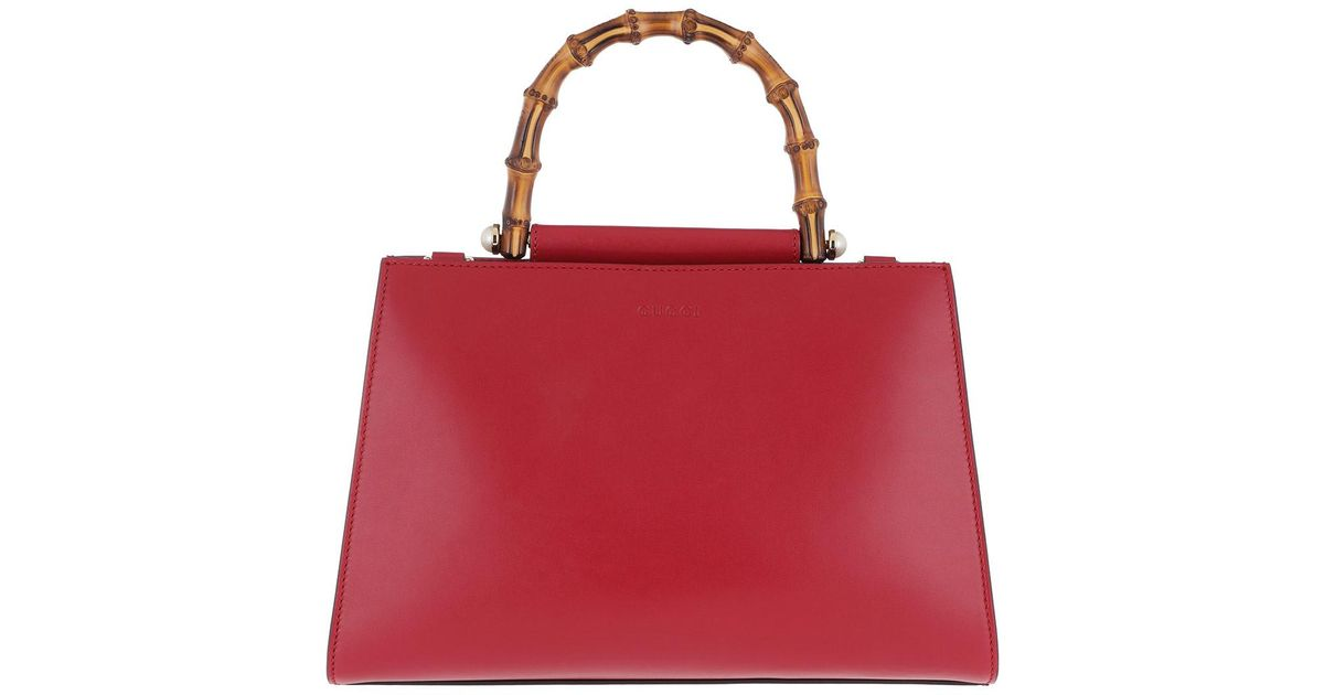 aa3bc5d2449 Gucci Nymphaea Top Handle Bag Small Leather Red in Red - Lyst