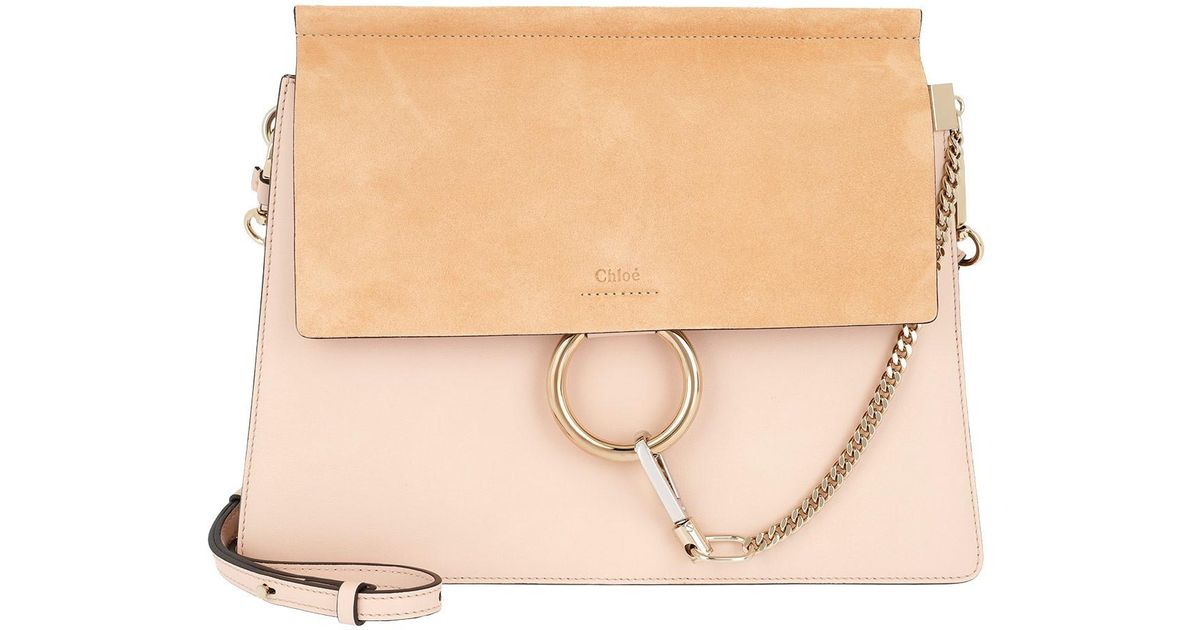 6bb31386d4 Chloé Faye Tote Bag Suede Flap Cement Pink in Pink - Lyst