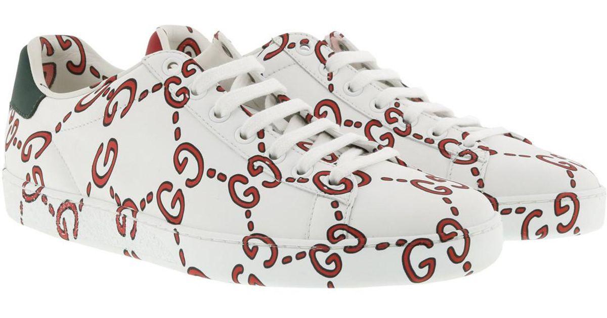 4e18e712e3a Gucci Ace Sneakers Gg Print Bianco rosso - Lyst
