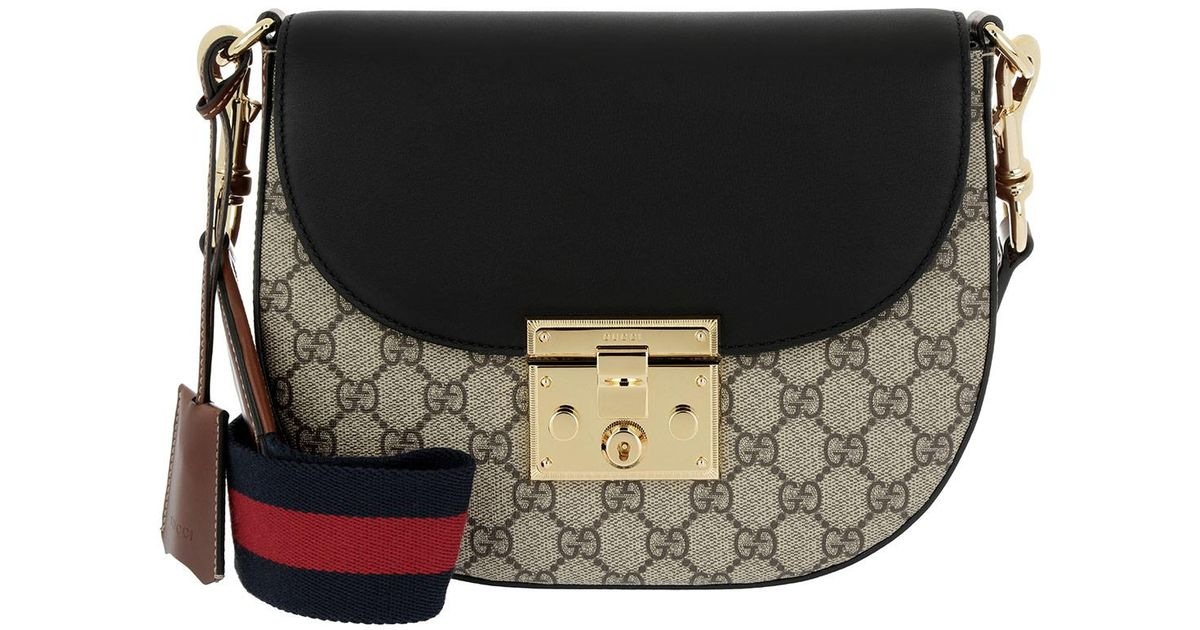 f45be2e7986 Gucci Padlock Crossbody Bag Gg Supreme Ebony in Black - Lyst