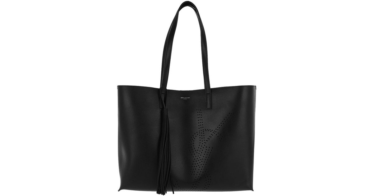 45dd0620b7683 Saint Laurent Shopping Bag Perforated Vintage Leather Black in Black - Lyst