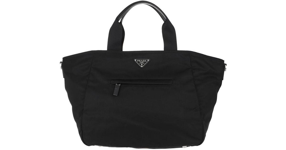 9fc096e4310e Prada Vela Tote Shopping Bag Black in Black - Lyst