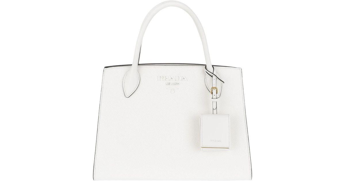 39897187f46cbb Prada Monochrome Tote Bag Bianco in White - Lyst