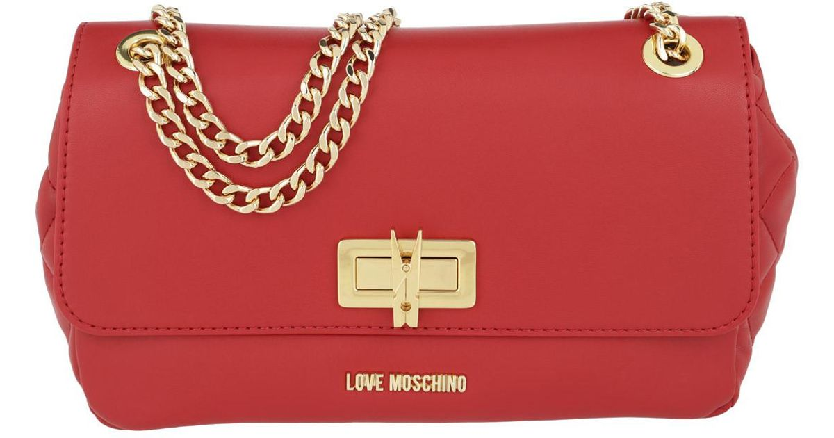 a0e61a4565fb Love Moschino Borsa Quilted Nappa Pu Chain Crossbody Bag Rosso in Red - Lyst