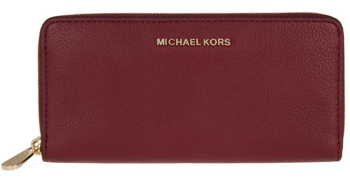 4bfcdfb476dc MICHAEL Michael Kors Bedford Za Continental Wallet Leather Cherry in Red -  Lyst