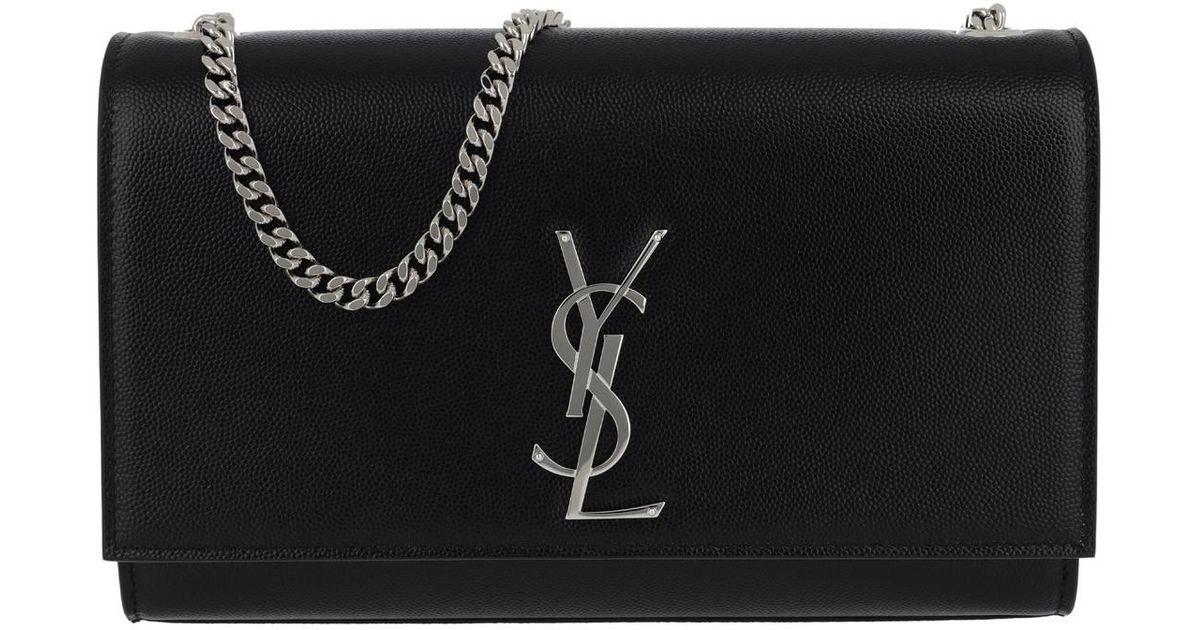 08bd357e340b Saint Laurent Ysl Monogramme Chain Clutch Grain De Poudre Black in Black -  Lyst