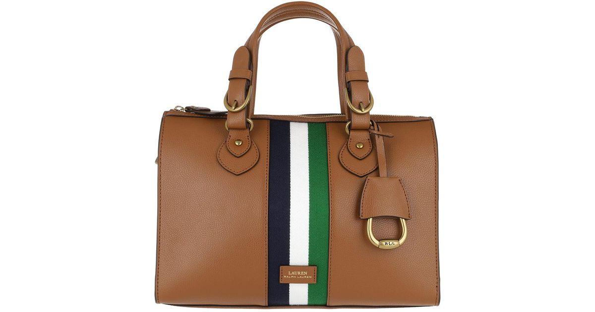 e8be2082e2f1 ... france lauren by ralph lauren chesterfield satchel bag pebbled lauren  tan navy white in brown lyst