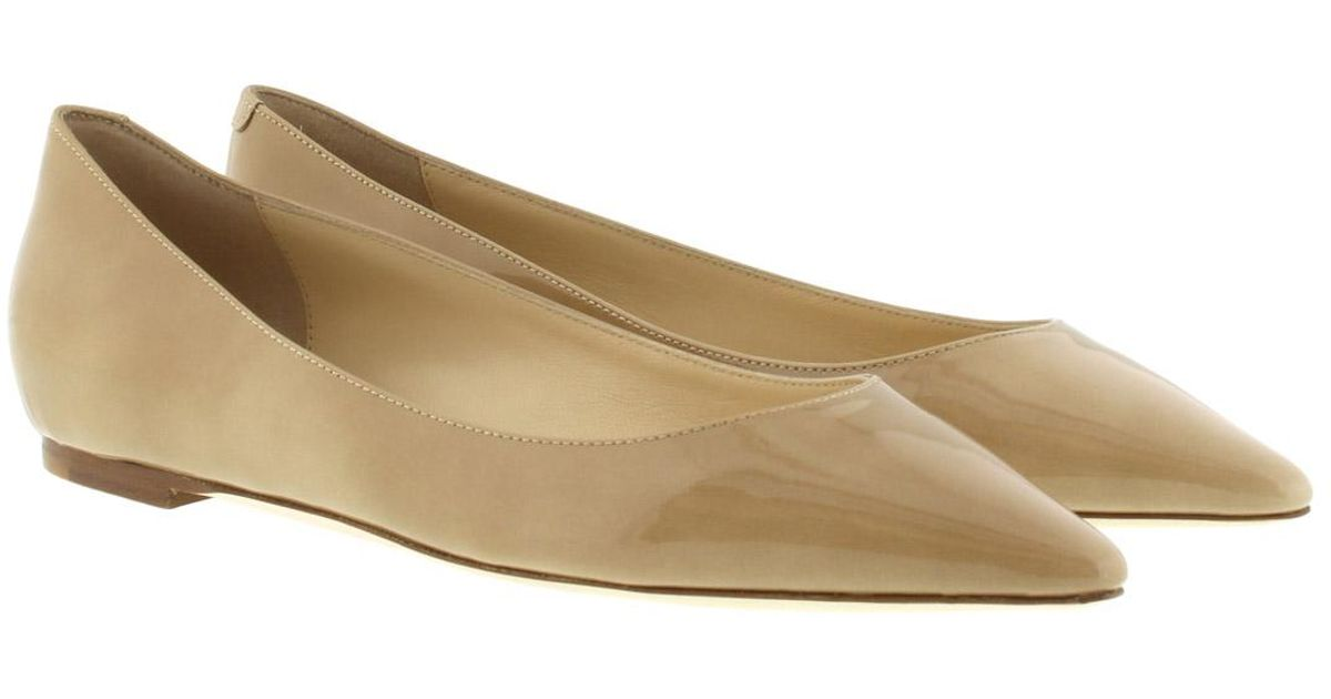 71d1bfbbadc ... store jimmy choo romy flat patent leather ballerina pump nude in natural  lyst 0bd01 c87a8