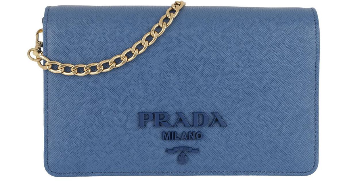 Prada Saffiano Lux Crossbody Calf Leather Azzurro in Blue - Lyst df5b153da4