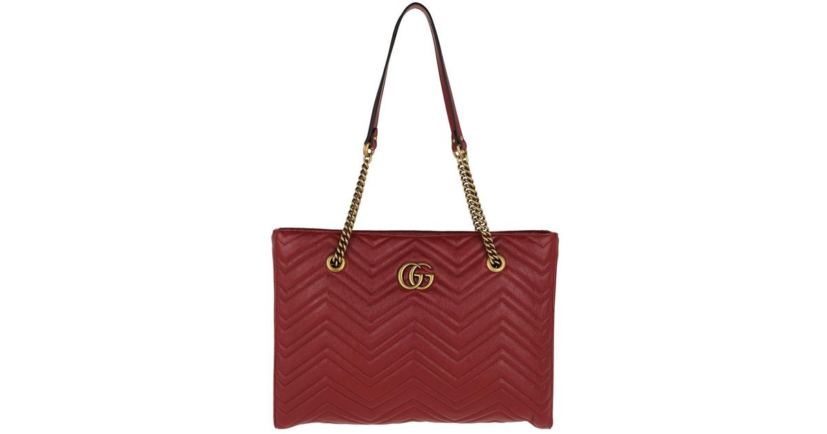 6349441f58e0 Gucci GG Marmont Matelassé Medium Tote Leather Red in Red - Lyst