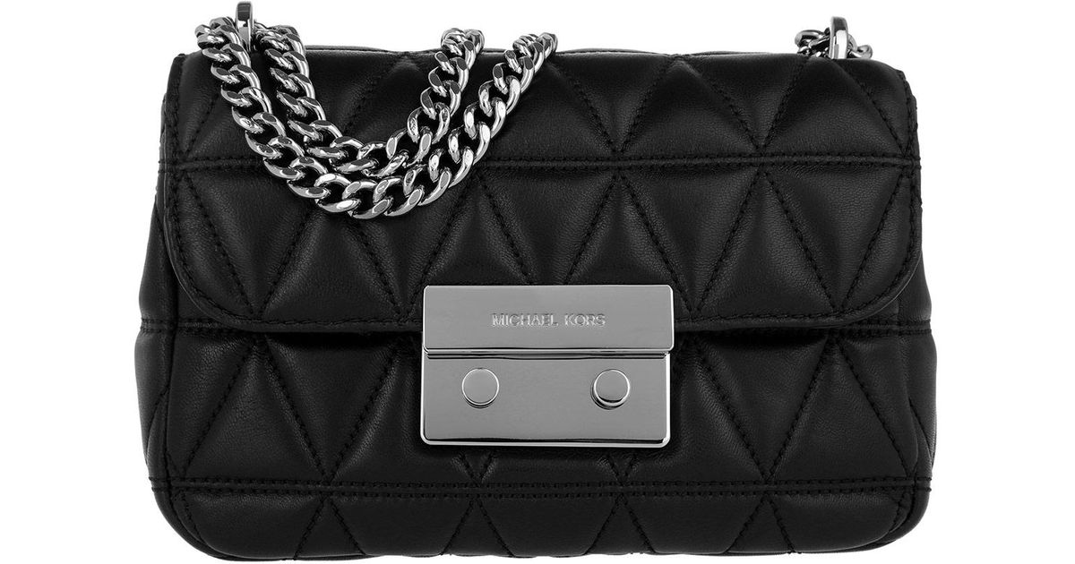 884b419829d6db Michael Kors Sloan Sm Silver Chain Shoulder Bag Black in Metallic - Lyst