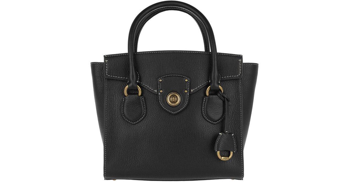 65ecf2a78a Lauren by Ralph Lauren Pebbled Leather Satchel Medium Black in Black - Save  52% - Lyst