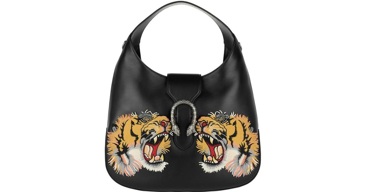 14ea7a96bdc7 Gucci Dionysus Hobo Bag Leather Tiger Patch Black in Black - Lyst