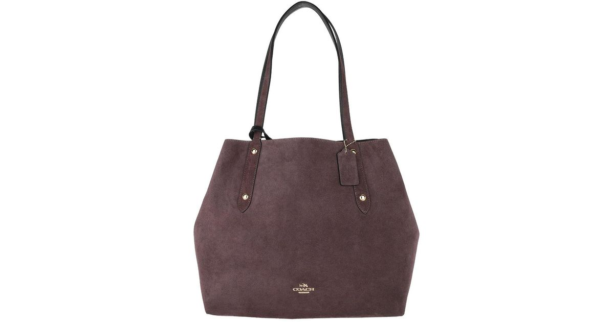 Tote - Reversible Suede LG Market Tote Heather Grey/Oxblood - grey - Tote for ladies Coach cVCUteZp