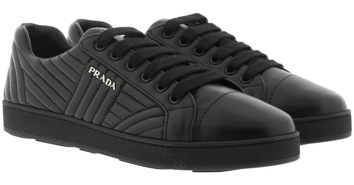 9cca708196ad27 Prada Sneakers Matelassé W Logo Leather Black in Black for Men - Lyst