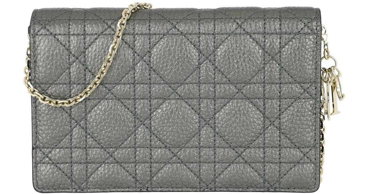 Dior Lady Dior Wallet On Chain Gunmetal - Lyst e7d0069db2635