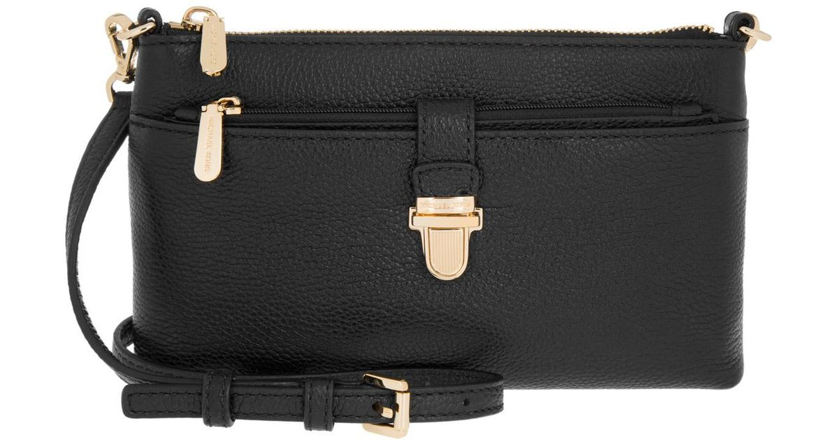 0303ec4878c41d Michael Kors Mercer Md Snap Pocket Crossbody Bag Leather Black in Black -  Lyst