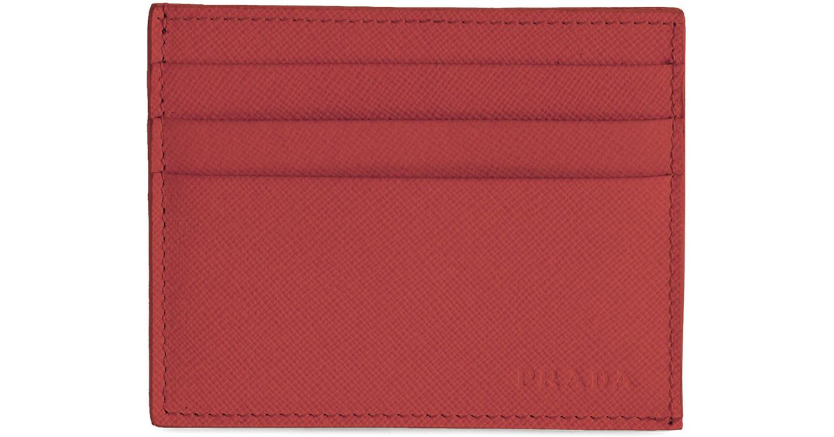 dc8b37d016ca Prada Saffiano Leather Card Case in Red for Men - Lyst