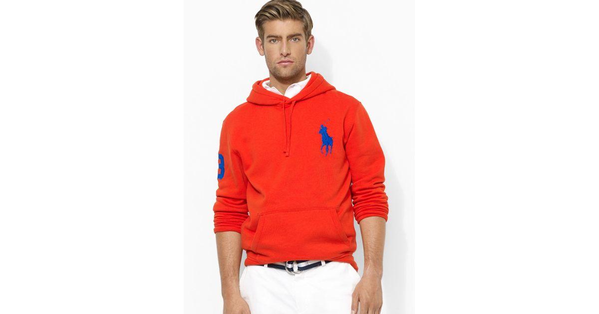Ralph lauren Polo Big Pony Beach Fleece Pullover Hoodie in Orange for Men   Lyst