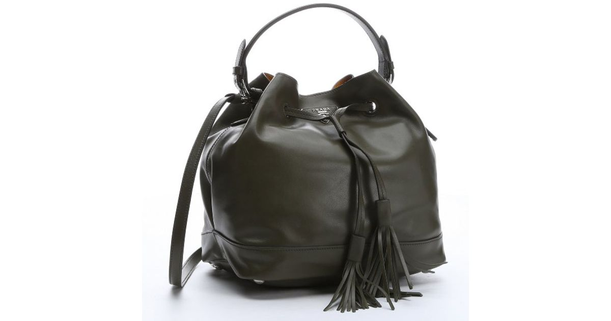 prada handbags for less - Prada Military Green Calfskin Fringe Drawstring Bucket Bag in ...