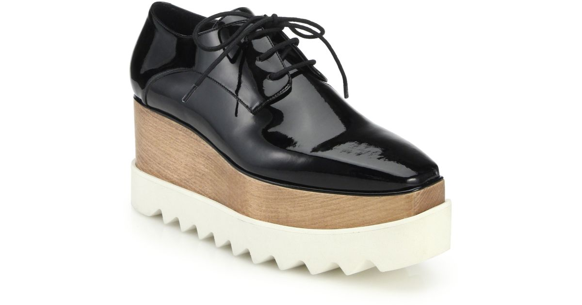 e80bd9acf7f Lyst - Stella McCartney Wood   Rubber-platform Faux Patent Leather Oxfords  in Black