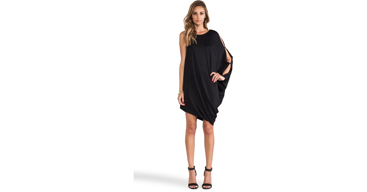 Lyst Bcbgmaxazria Michaela One Sleeve Dress In Black