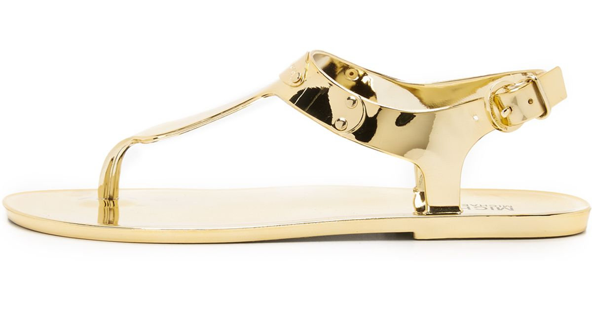 f8034299959 Lyst - MICHAEL Michael Kors Mk Plate Jelly Sandals - Gold in Metallic