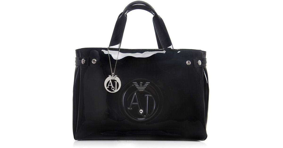 armani jeans patent shopper bag in black lyst. Black Bedroom Furniture Sets. Home Design Ideas