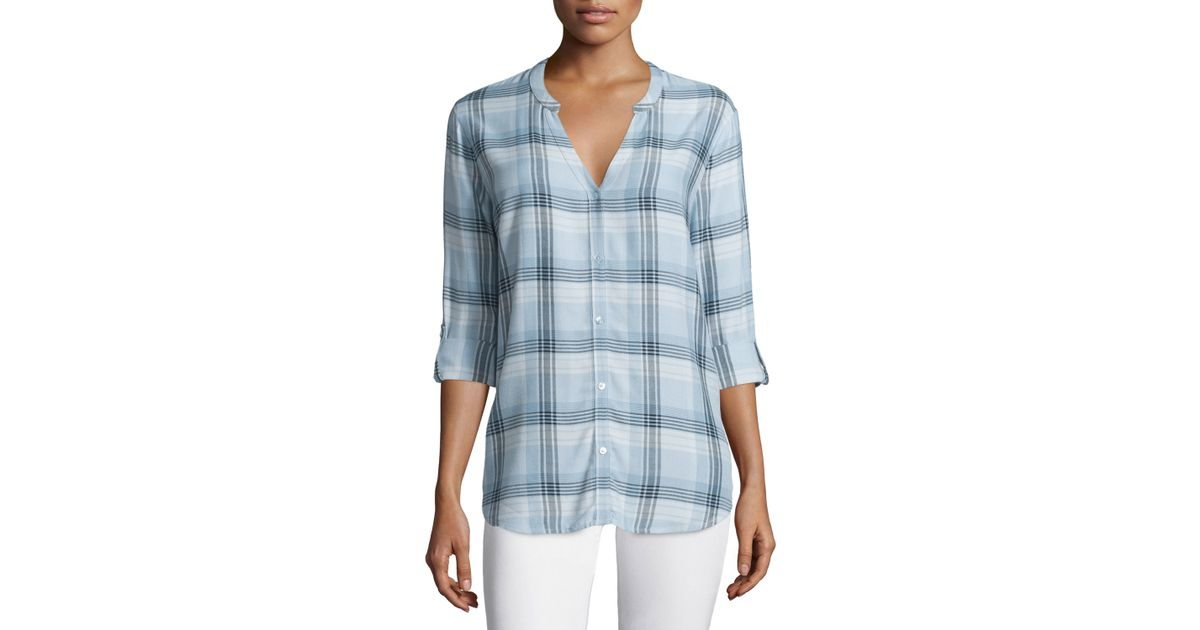 Soft joie dane long sleeve plaid top in blue lyst for Soft joie plaid shirt